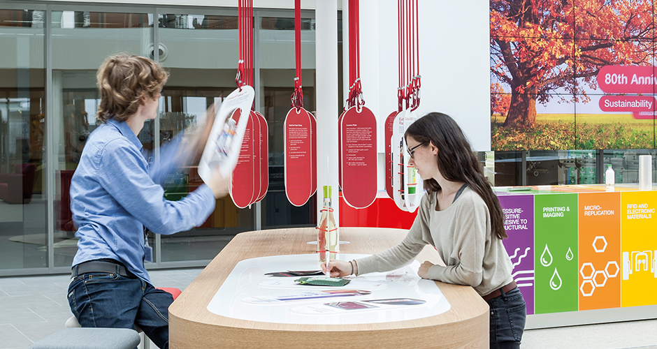 Avery Dennison Customer Experience Center, Oegstgeest NL. Overall Concept, Interior Design, Media Design, Graphic Design, Programming, Project Coordination, Project Realization.